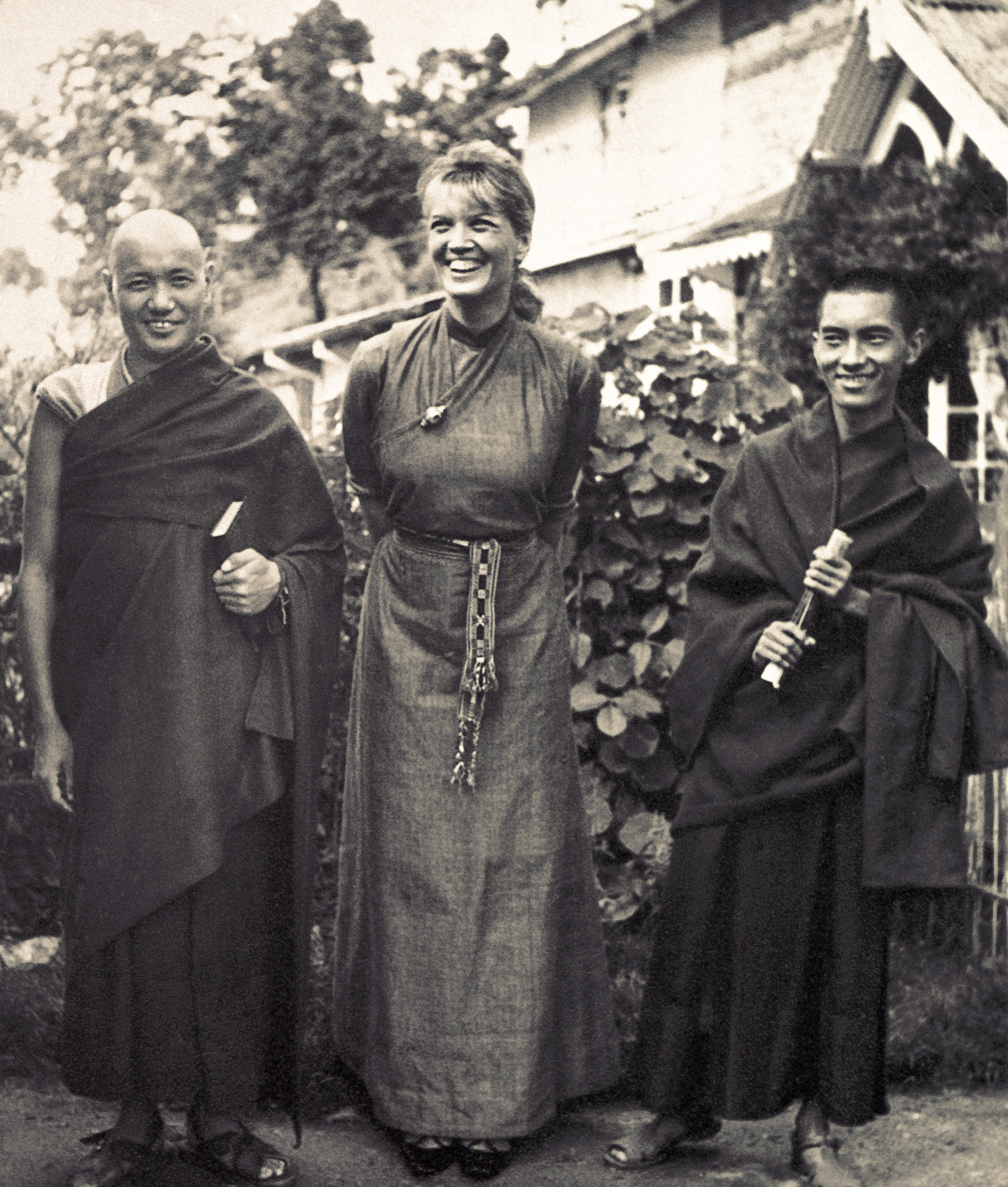 Lama Yeshe and Lama Zopa Rinpoche with their first Western student, Zina Rachevsky, Darjeeling 1970. (Photo LYWA)