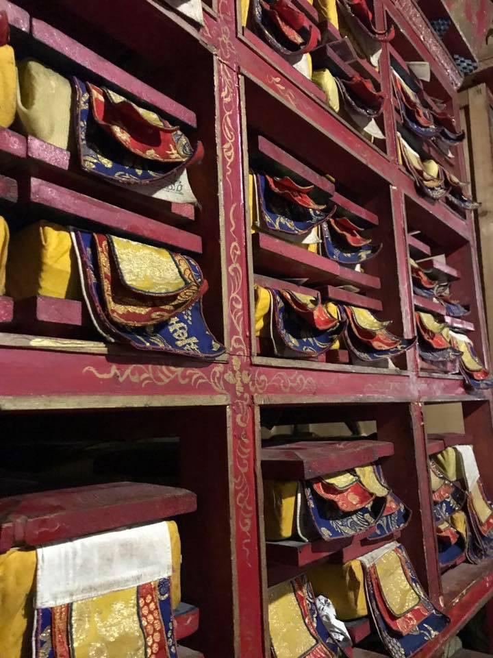 Cloth-wrapped Tibetan texts. (Photo Ven Tenzin Tsultrim)