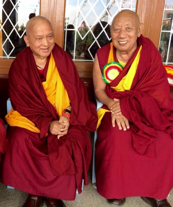 Lama Zopa Rinpoche with Geshe Gelek's teacher, the abbot of Sera Je, Gyüme Khensur Rinpoche Lobsang Delek, who lived next door in Buxa. Rinpoche tells his story as an inspiring example of how intensively many of the monks studied.(PhotoVen Sangpo Sherpa)