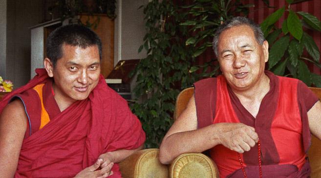 Lama Zopa Rinpoche and Lama Yeshe, Geneva, Switzerland, 1983. (Photo by Ueli Minder)