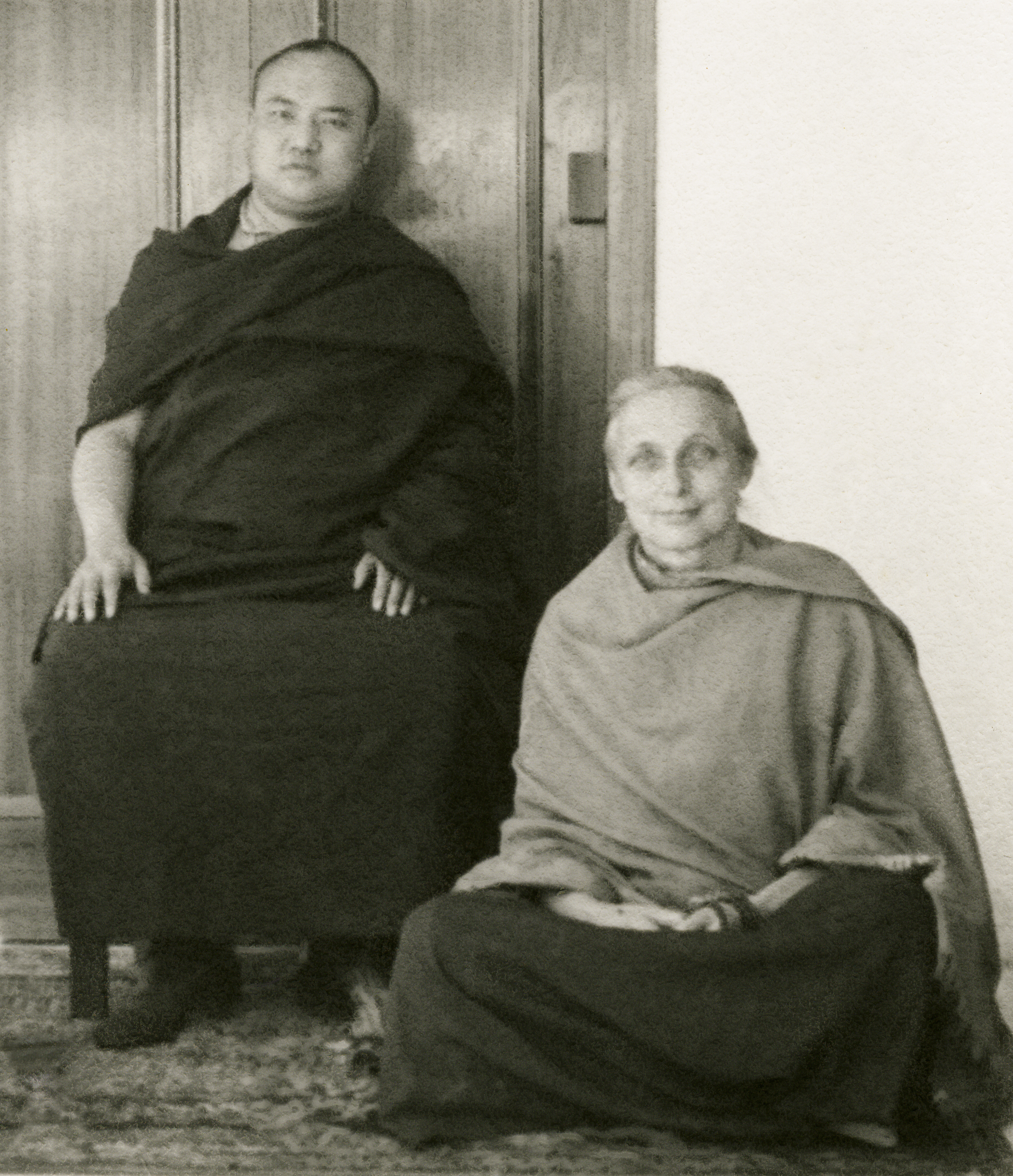 Freda Bedi, aka Sister Palmo, with His Holiness the Sixteenth Karmapa. She helped establish the Young Lamas School and found a pen friend and sponsor for the young Lama Zopa Rinpoche. (PhotoShambhala Archives Collection)