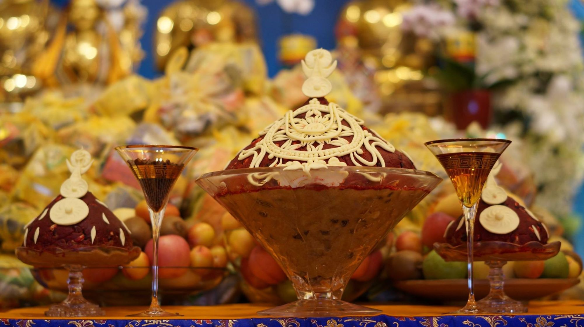 The substances for the tsog offering, ABC Singapore Long Life Offering to Lama Zopa Rinpoche, 2016. (Photo Bill Kane)