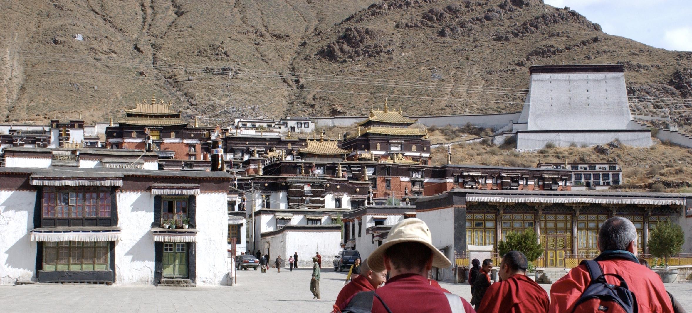 Outside the Panchen Lama's monastery Tashi Lhunpo, in Tibet. (Photo Bob Cayton)