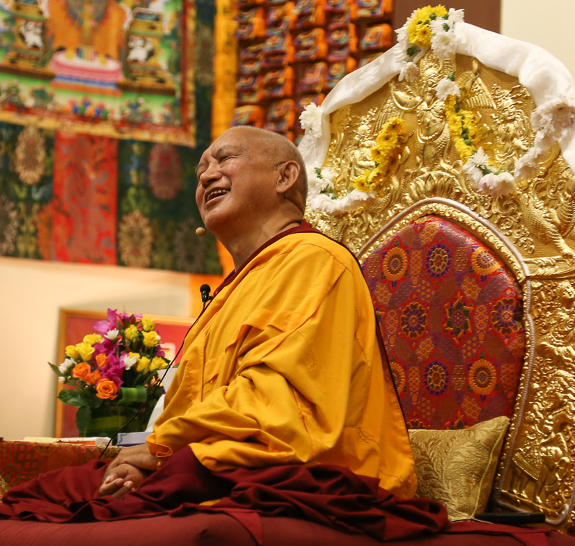 Kyabje Zopa Rinpoche teaching at Chenrezig Institute,2014 (Photo LYWA)