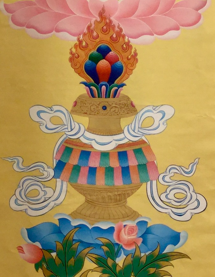 Wish-granting vase from a thangka at Amitabha Buddhist Center, Singapore. (Photo Ven Sarah Thresher)
