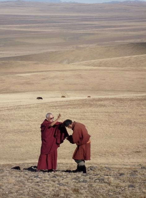 Blessing a nomad above Erdenzuu, Mongolia 2010. (Photo Ven Roger Kunsang)