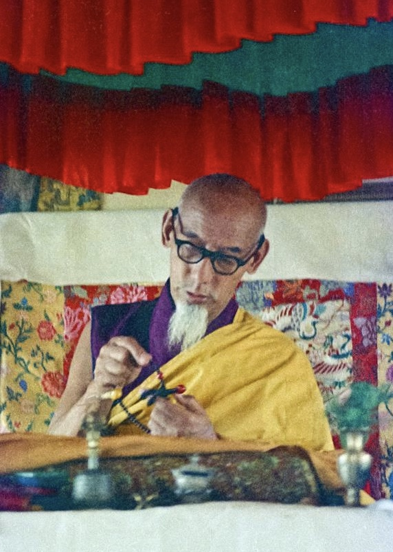 His Holiness Zong Rinpoche at Kopan 1974. Rinpoche received many teachings,initiations, ritual instructions andchantingfrom this great tantricmaster. (Photo LYWA)