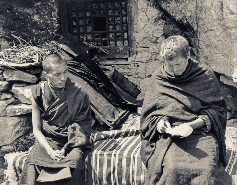 Rinpoche and Zina outside the cave, Lawudo, 1969