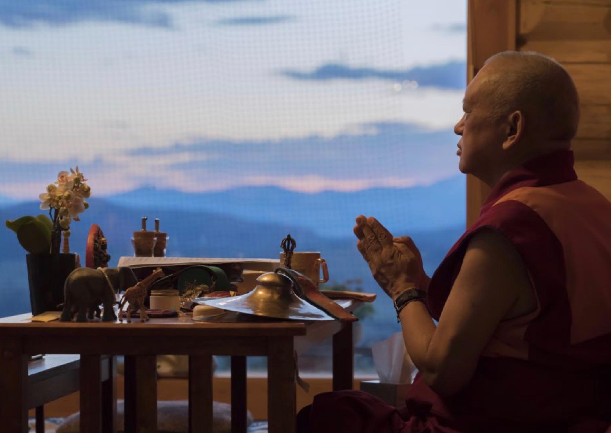 Lama Zopa Rinpoche doing prayers at Buddha Amitabha Pure Land, Washington, USA, 2018. (Photo Ven Losang Sherab)