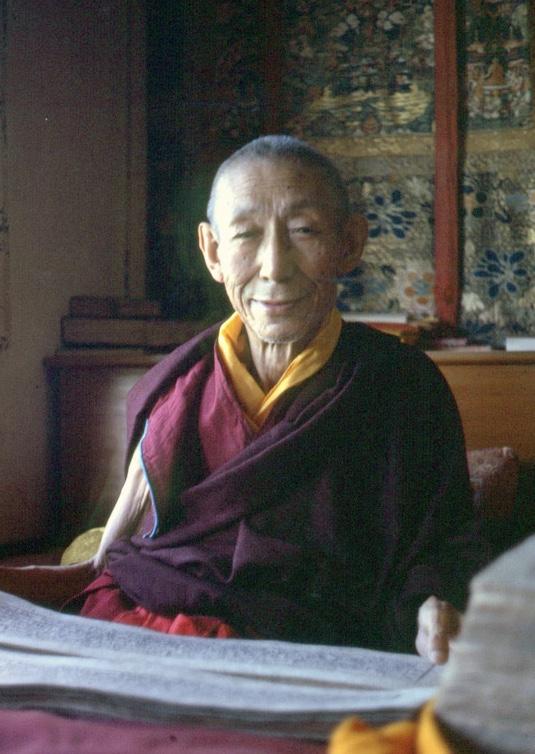 Kyabje Trijang Rinpoche, Junior Tutor of His Holiness Dalai Lama,Root Guru of Lama Zopa Rinpoche andlineage holder of this chanting. (PhotoLYWA)