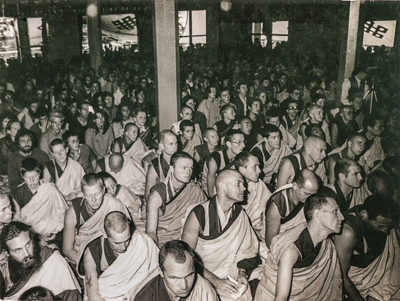 International Mahayana Institute monks and nuns and lay FPMT students at the Tsuglhakhang (main temple) of H.H. 14th Dalai Lama in Dharamsala for Mahamudra teachings, March 1982. Wendy King (donor)