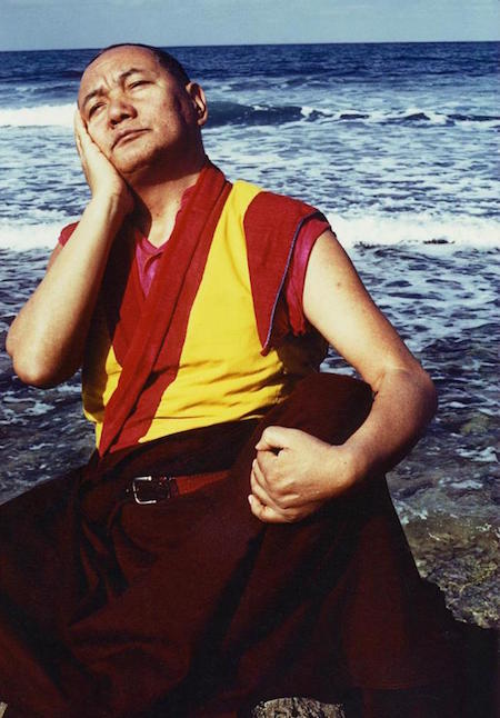 Lama meditating at the ocean in Sicily, 1983 (Photo: Jacie Keeley)