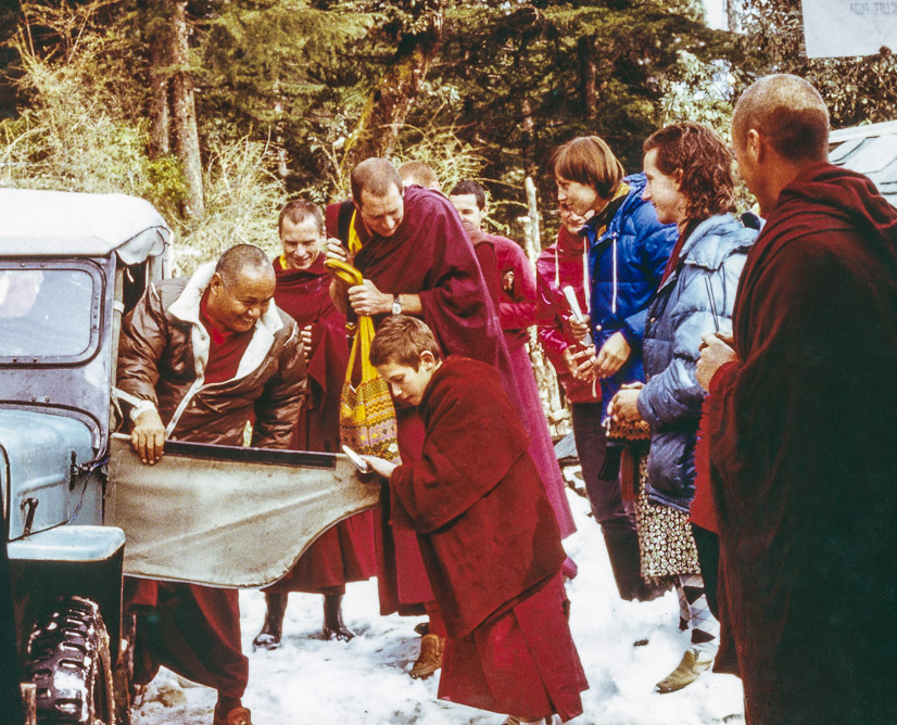 Lama Yeshe arrival at Tushita Retreat Centre, First Enlightened Experience Celebration, Dharamsala, India, 1982