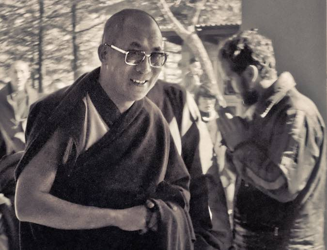 His Holiness theDalai Lama at the Tibetan Library inDharamsala,India, 1975. (Photo by Dan Laine)