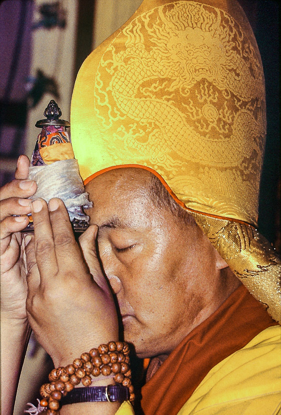 Long life puja for Lama Yeshe, Tushita Retreat Centre, Dharamsala, India, 1982. Dieter Kratzer (photographer)