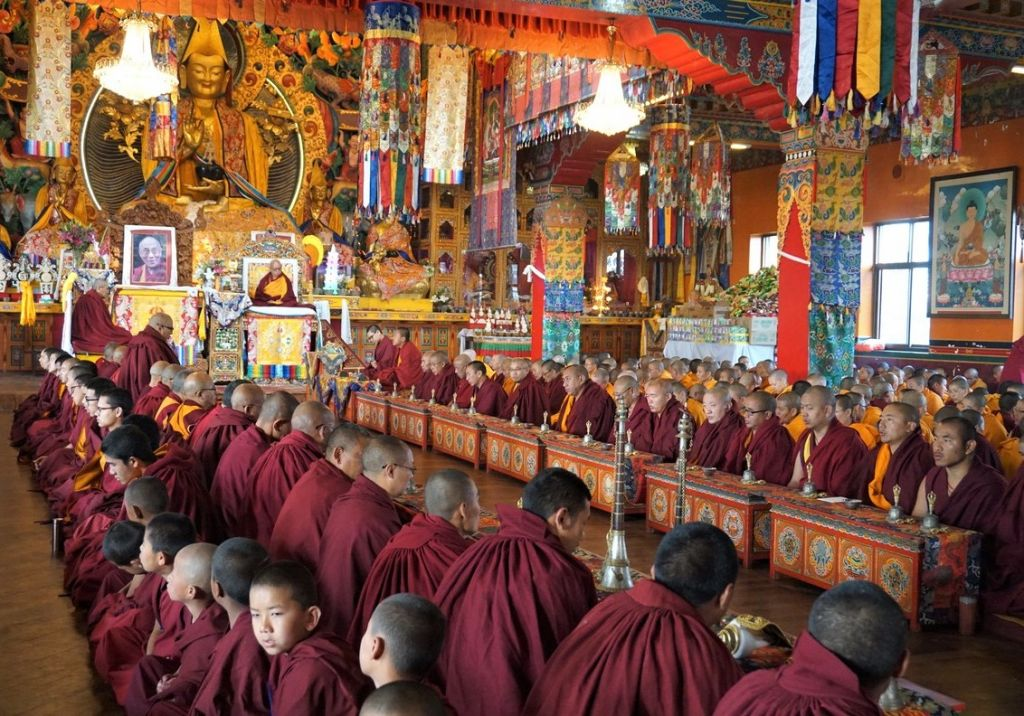 Lama Zopa Rinpoche with Kopan monks and abbotperforming Guru Puja, Kopan, 2017. (Photo Ven Losang Sherab)