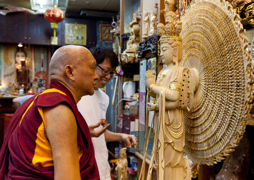 Rinpoche at the Dharma shop in Singapore, 2013. (Photo Stephen Ching)