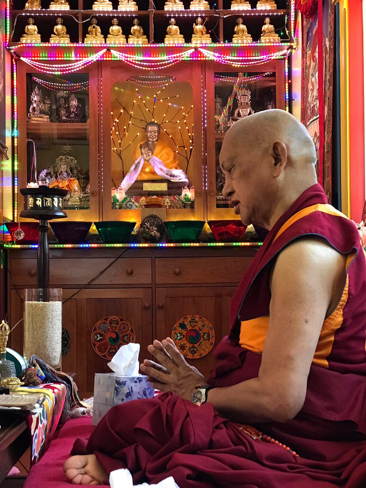Rinpoche doing prayers at Aptos, California, June 2017. (Photo Ven Losang Sherab)