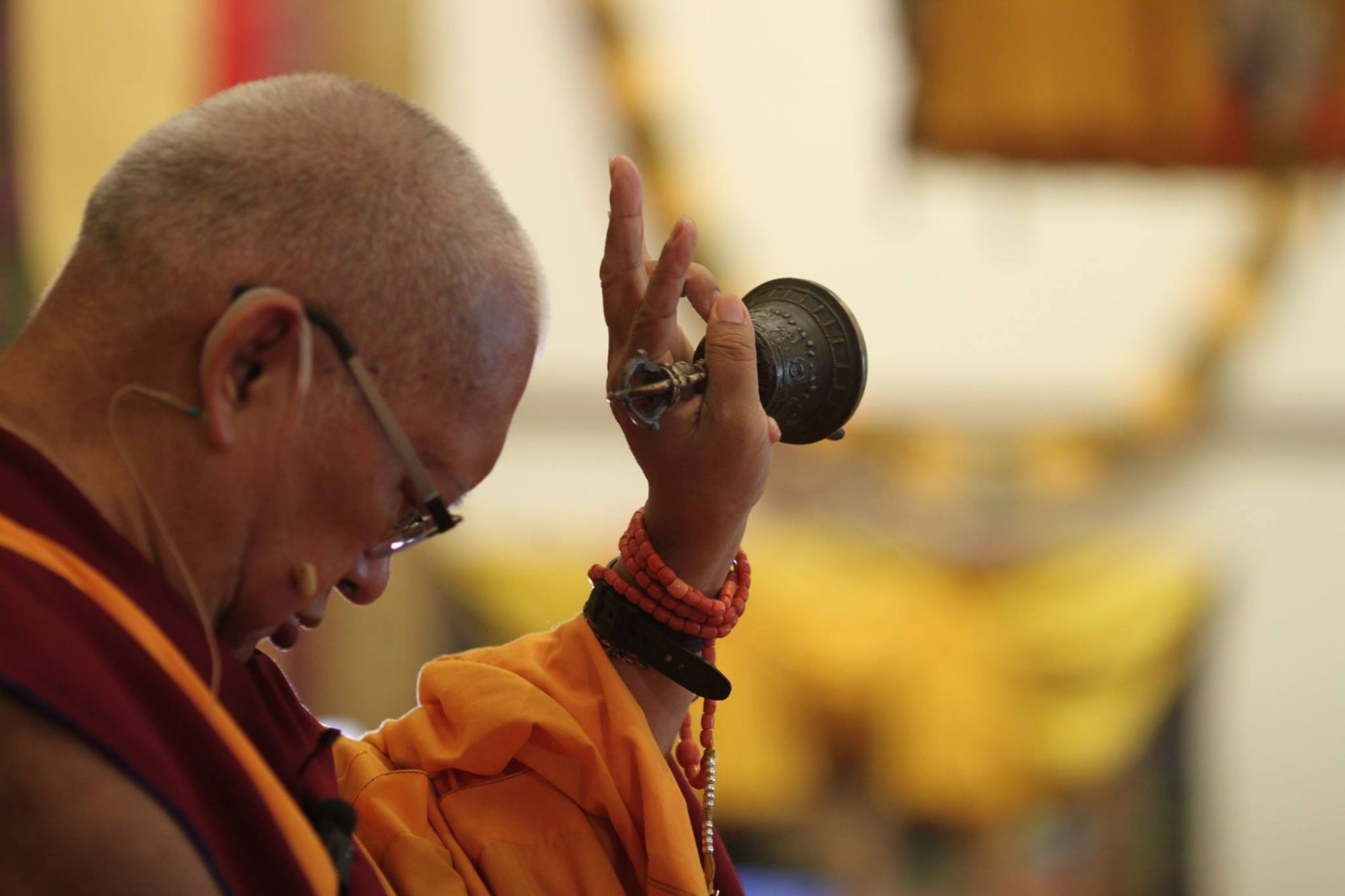 Lama Zopa Rinpoche offering the inner offering, ABC, Singapore, 2016. (Photo Bill Kane)