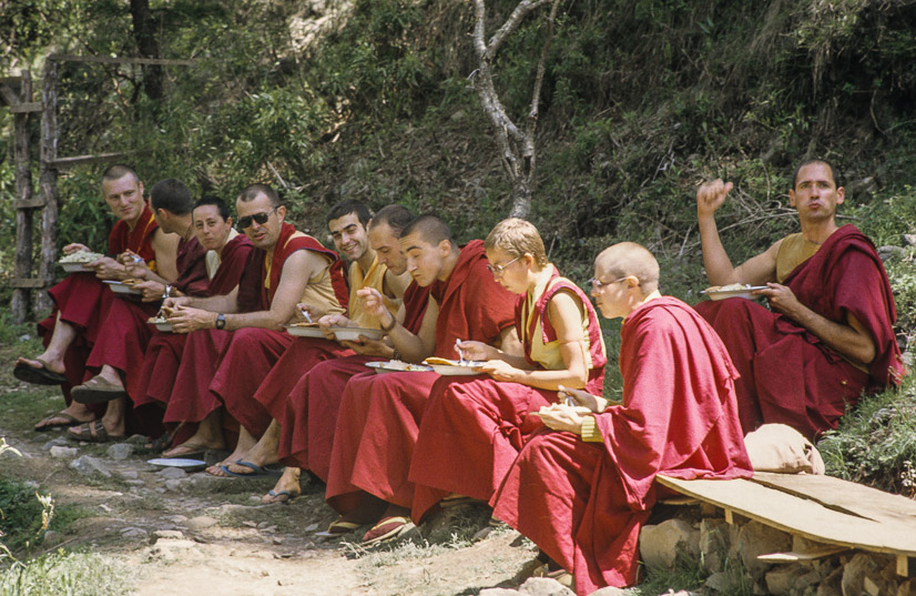 Western Sangha, First Enlightened Experience Celebration, Tushita Retreat Centre, Dharamsala, India, 1982. Ina Van Delden (photographer)