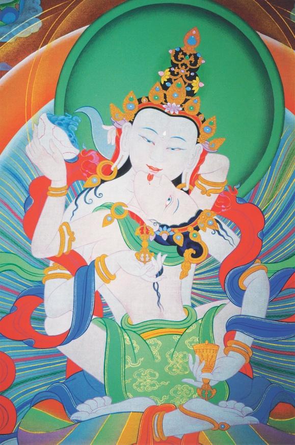 Vajrasattva whosymbolizes the inherent purity of all buddhas. Painter:Peter Iseli