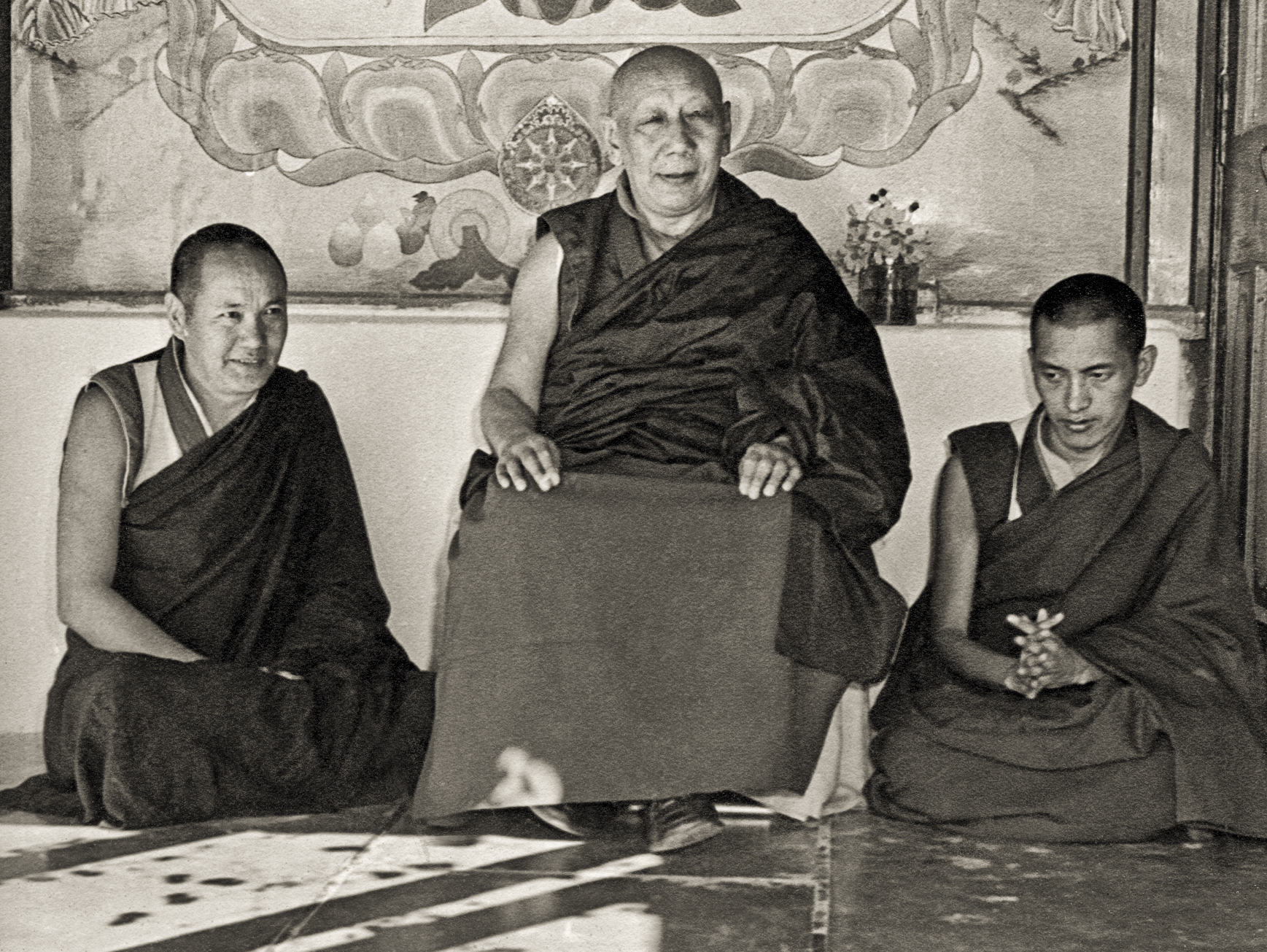 His Holiness Ling Rinpoche withLama Yeshe and Lama Zopa Rinpoche at Tushita Dharamsala in1975. (Photo Brian Beresford)