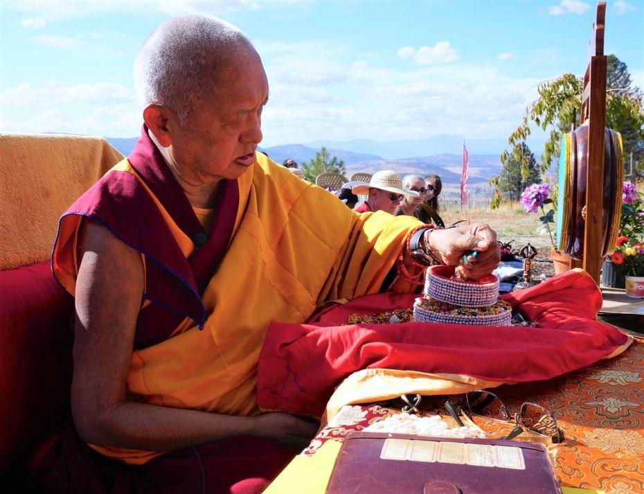 Lama Zopa Rinpoche offering a mandala at Buddha Amitabha Pure Land, USA, 2017. (Photo Ven Losang Sherab)