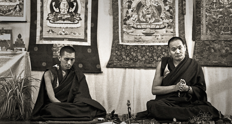 Lama Yeshe and Lama Zopa Rinpoche teachingat Royal Holloway College, England,1975. (Photo by Dennis Heslop)