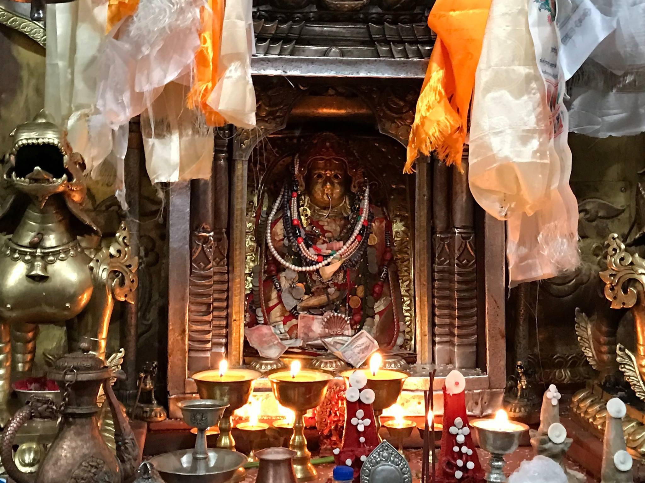 The shrine of Samvari, Boudhnath stupa, Nepal.
