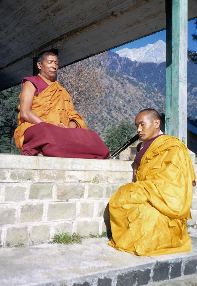 Lama Yeshe with his guru Geshe Rabten Rinpoche, Chopra House, McLeod Ganj, India, 1970. It was fromGeshe Rabten thatLama Zopa Rinpoche learnt the topics of debateand with whom hebegan his studies. (Photo LYWA)