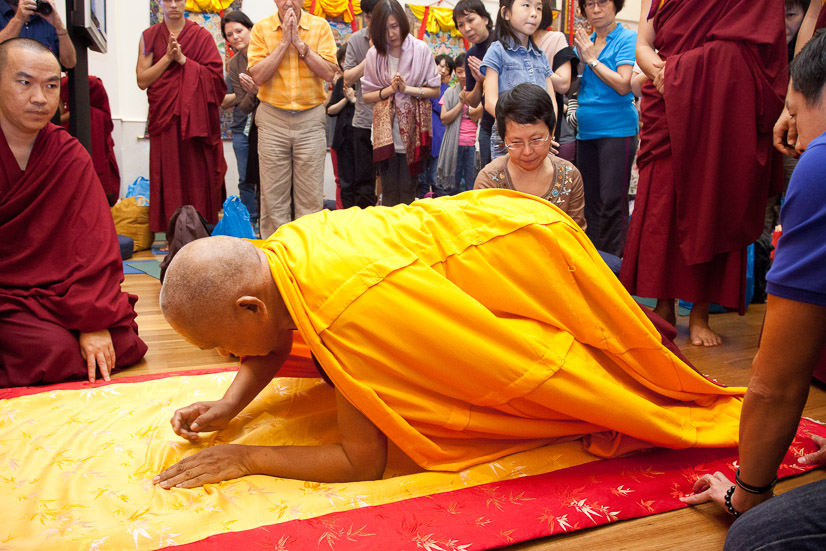 Rinpoche prostrating before teaching at ABC Singapore,2013. (Photo Stephen Ching)