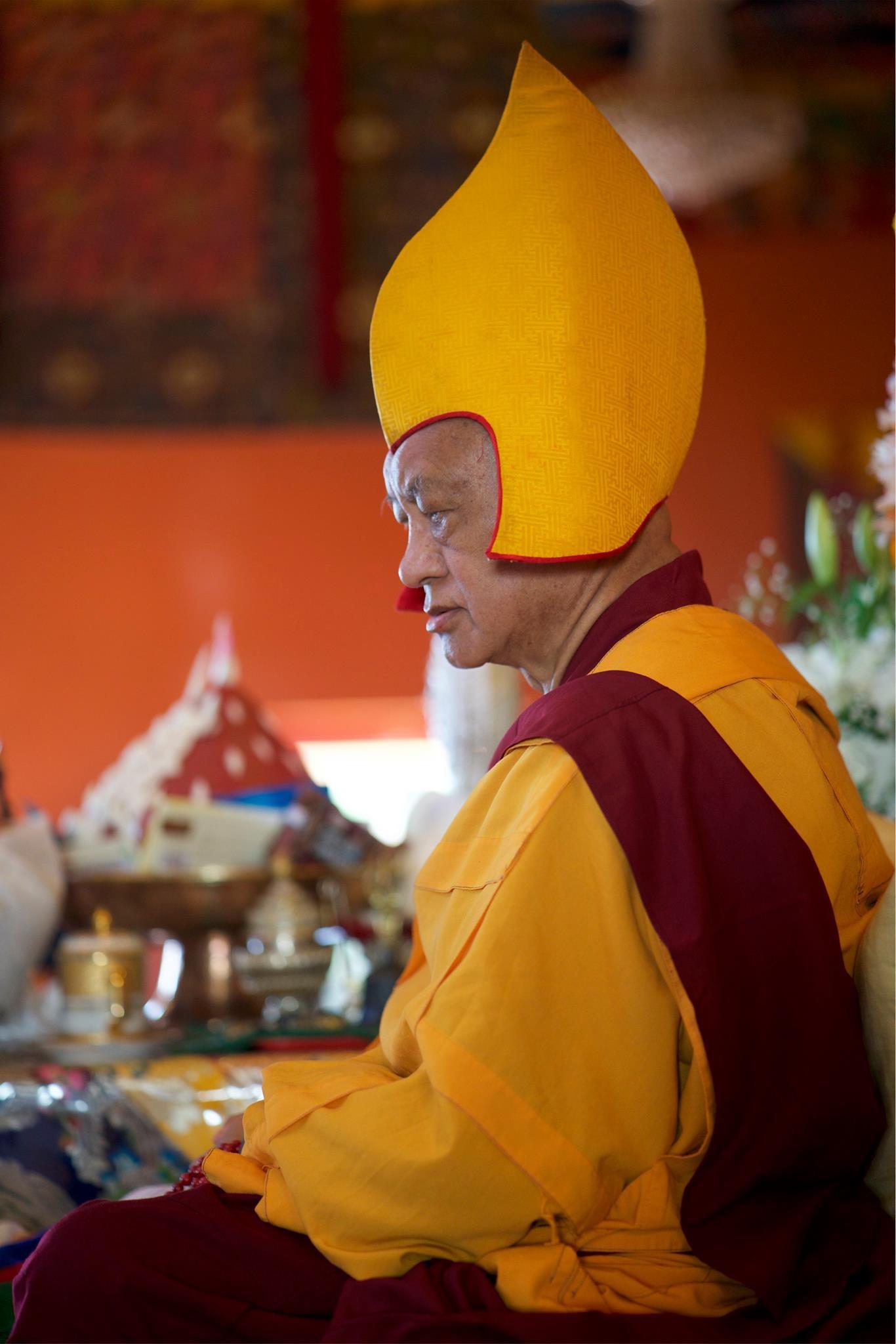 Lama Zopa Rinpoche, long life puja, Kopan, Nepal, 2017. (Photo Bill Kane)