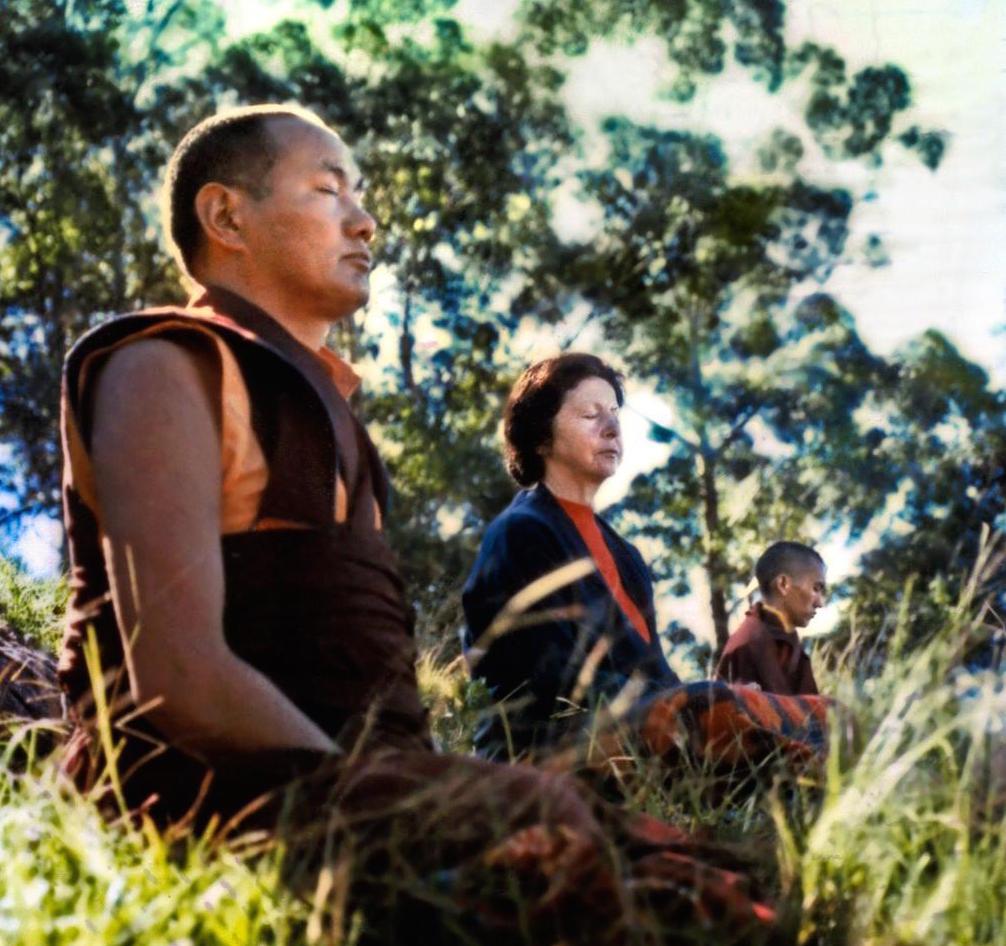 Lama Yeshe, Beatrice Ribush, and Lama Zopa Rinpoche in meditation at Chenrezig Institute, Australia, 1975. (Photo Wendy Finster)
