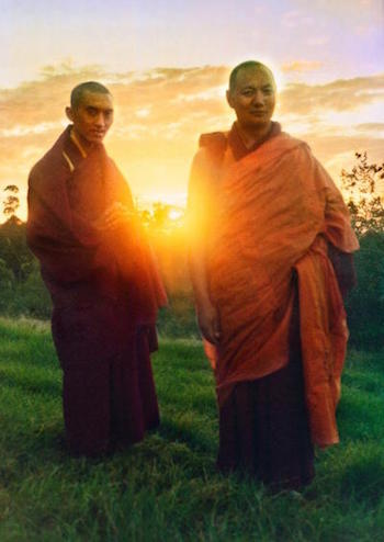 Lama Zopa Rinpoche and Lama Yeshe at Chenrezig Institute, Australia, 1975. (Photo by Nick Ribush, restoration by David Zinn)