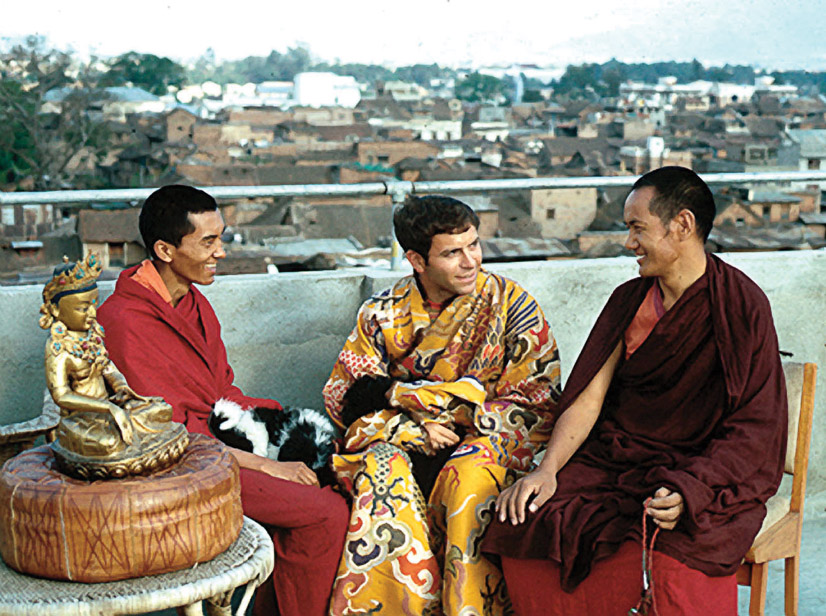 The lamas with Chip, Max's rooftop, Kathmandu, 1969
