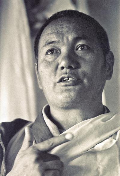 Lama Yeshe teaching in the gompa (shrine room) at Kopan Monastery, Nepal, 1974. (Photo by Ursula Bernis)