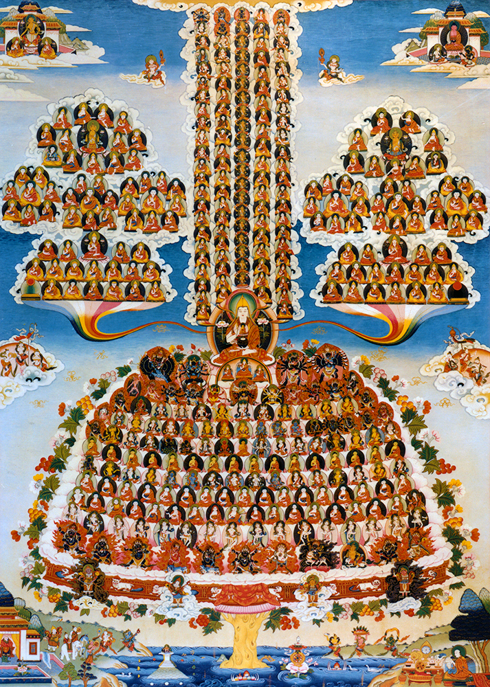 The Guru Puja merit field showing the lineage gurus on either side. (Artist Unknown)