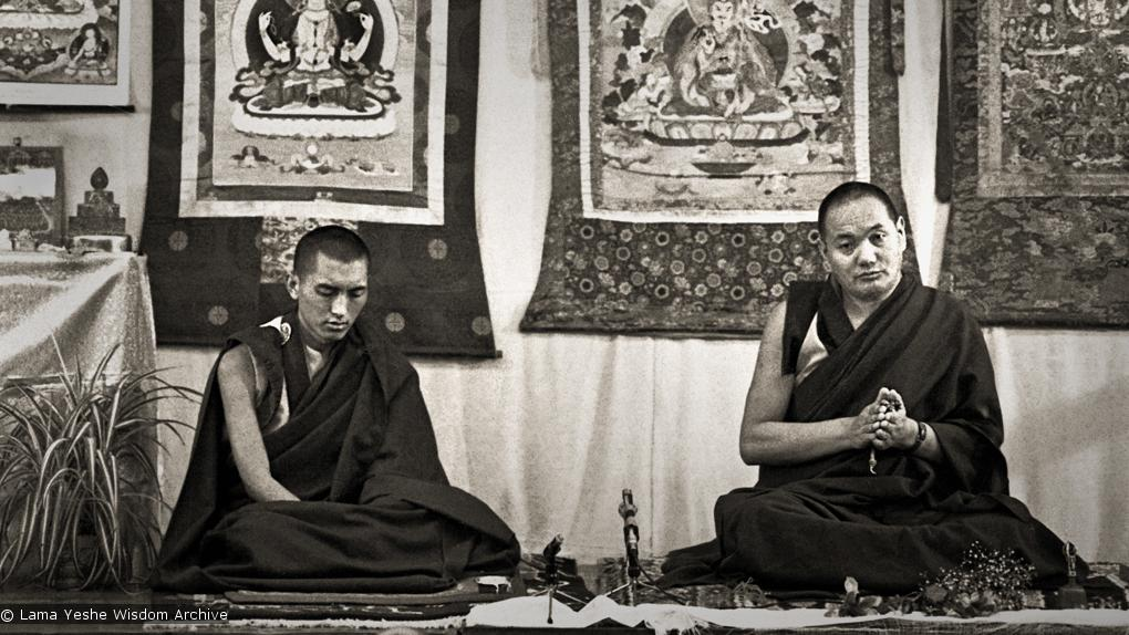 Lama Yeshe and Lama Zopa Rinpoche during these teachings given at Royal Holloway College during the lamas first trip to England, 1975. Photo by Dennis Heslop.