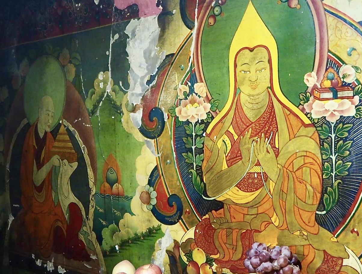 Mandala offering to Lama Tsongkhapa at Olka Cholung where Lama Tsongkhapa completed mandala offerings. (Photo Ven Tenzin Tsultrim)
