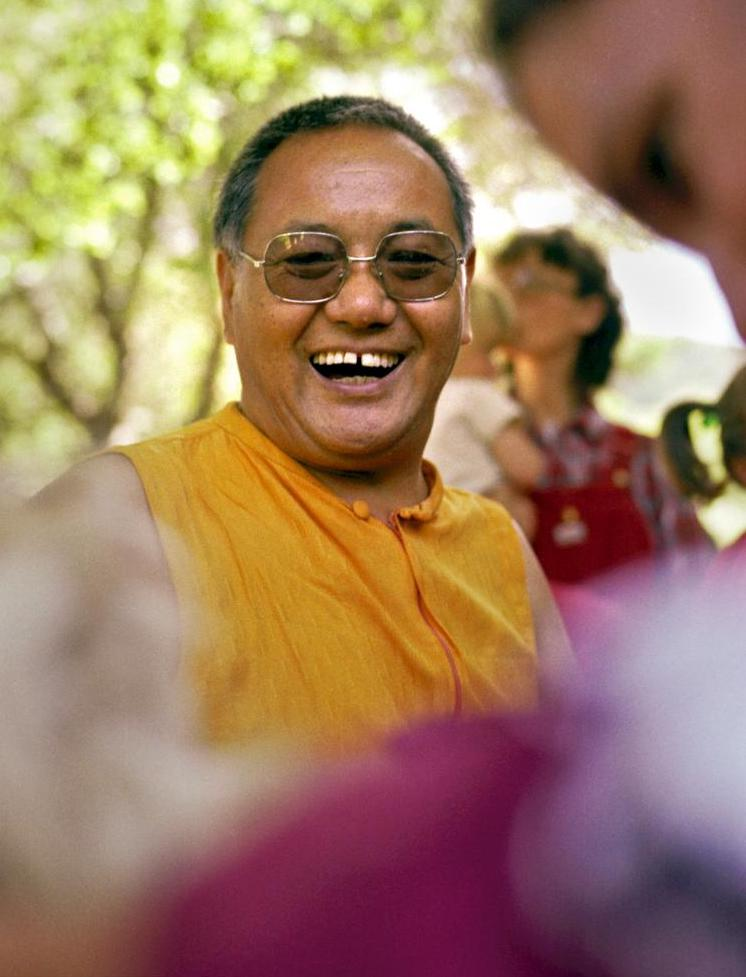 Lama Yeshe at a family gathering at Vajrapani Institute, California, 1983. (Photo by Carol Royce-Wilder)