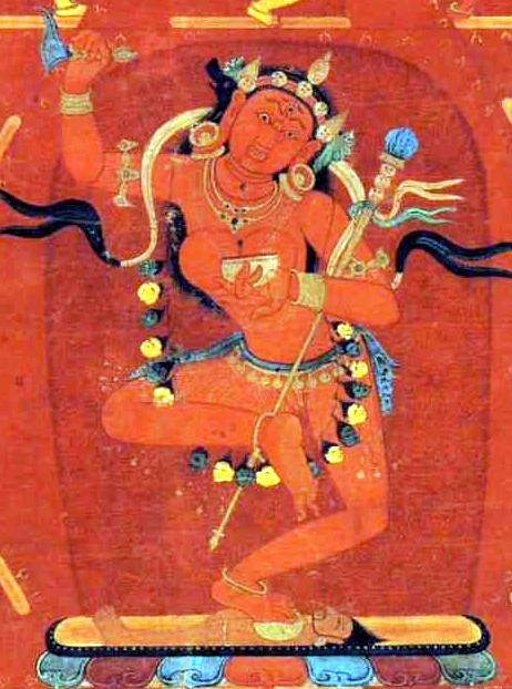 Dorje Phagmo, or Vajravarahi, from a fourteenth-century thangka.(Photo Wikipedia)